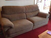 3 Seater, brown, herringbone, tweed effect sofa - with dog damage.