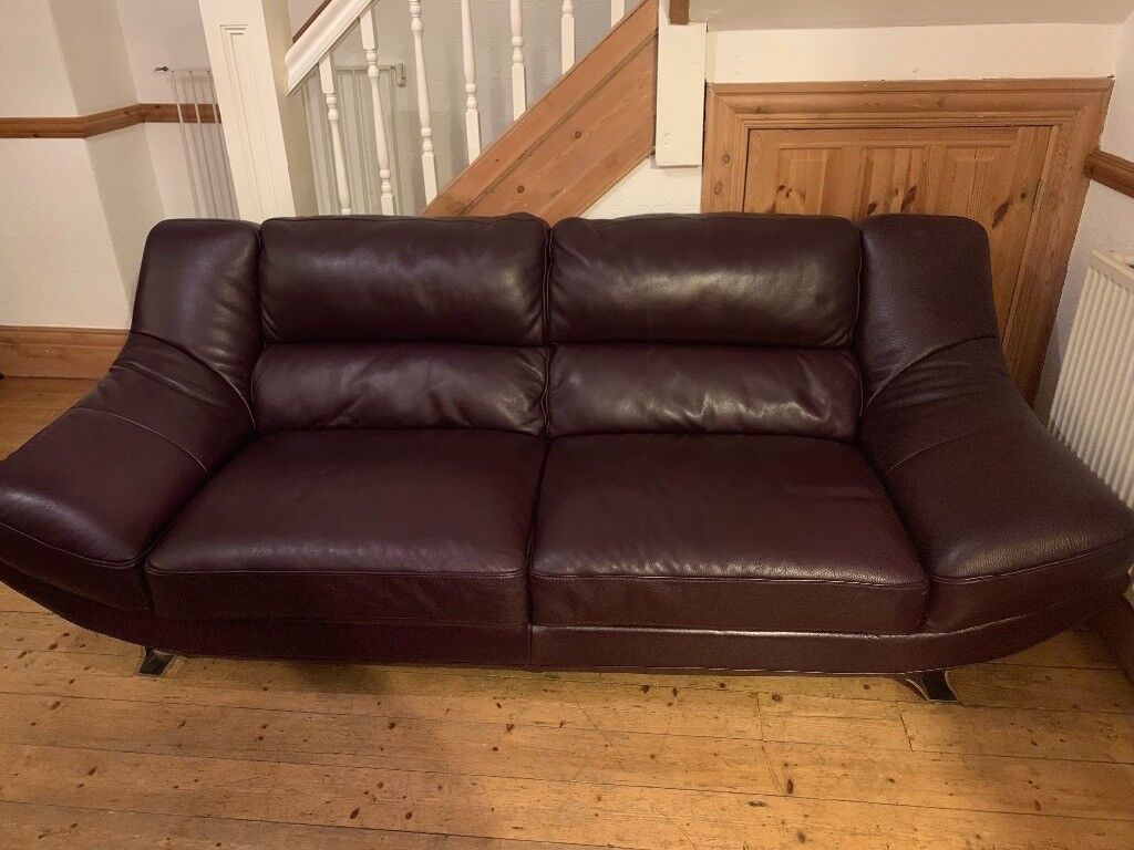3 Seater Aubergine Leather Sofa Excellent Condition In Birkenhead Merseyside Gumtree