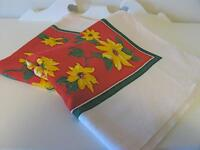 Vintage Rayon Blend Tablecloth, Red & Yellow, Clematis