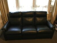 Black Leather 3 Seated Reclining Sofa