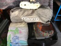 Travel cot and bedding, screw on seat for toddler.