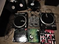 Pair of Gemini Record Decks and mixer with some vinyl records