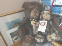 lovely pair of Limited Edition Charlie Bears, one is Snuggle and the other is Wurve You
