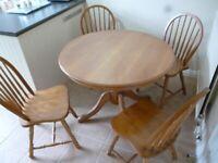 Teak round pedestal table 4 chairs