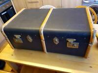Steamer trunk navy blue vgc strong leather handles