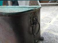 Antique copper flower planter