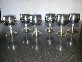 Set of Six Silver Plated Brandy Goblets
