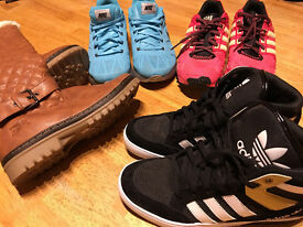 4 assorted pair ladies runners,baseball boots,& ugg boots,new & as new,great buy