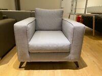 Armchair Grey Fabric New - Warehouse Clearance
