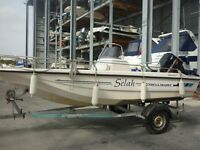 FLETCHER DELL QUAY SPORTSMAN 15, MERCURY 75, BOAT TRAILER, COVER, HARDLY USED STORED IN DRY STACK.