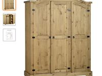 Brand New Solid Pine Triple Wardrobe
