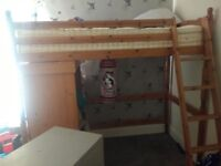 Wood high sleeper and brand new mattress