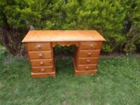 CAN DELIVER - SOLID PINE DRESSING TABLE - DESK WITH 8 DRAWERS