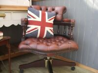 Stunning Tan Leather Chesterfield Captains Chair