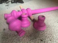 Painted pink curtain pole with all fittings