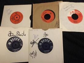 5 x 1960s rock pop artists vinyl signed sleeves