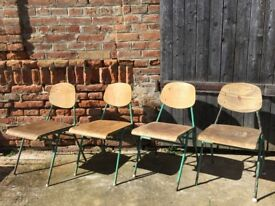 Vintage School Chairs Metal Frame Solid Plywood Dining Seats Seating 20+ Retro