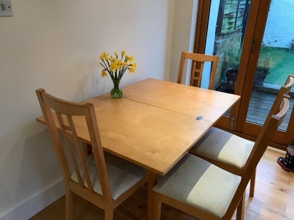 Ikea Jussi Wooden Extendable Dining Table With 4 Chairs