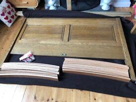 Solid oak king-size bed frame.