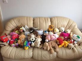 Joblot of 40 assorted soft toys some with tags, good clean condition