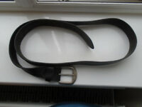 54 inch (not including buckle) BLACK GENUINE LEATHER BELT with SILVER BUCKLE in GOOD CONDITION