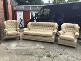 LEATHER CHESTERFIELD 3 PIECE SUITE IN CREAM / BEIGE LEATHER REAL LEATHER CAN DELIVER £499