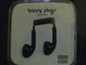 Happy Plugs In-Ear Headphones / Headset / Earbuds Mic. In Line Volume Control. Gold Plated. Stereo Sound. Audio AUX. NEW