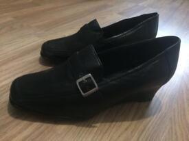 Black Woman Ladies Black Buckle Slip On Shoes Brand New Size 7