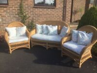 Conservatory furniture two chairs one two seater with cushions in very good condition