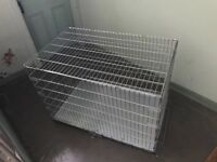 Extra Large collapsible Dog cage, silver, full metal construction.