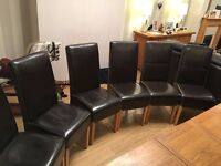 Faux leather dining chairs - brown, set of 6, light oak legs