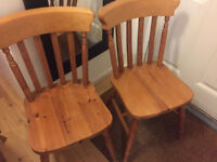 2 solid wood farmhouse chairs, very strong by St Michael furniture
