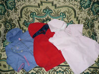 Girls Bundle of 2 jackets, 1 coat and 1 raincoat with hat (cotton linning) for 3-4 years.