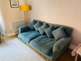 Loaf crumpet linen teal 3 seat sofa and armchair