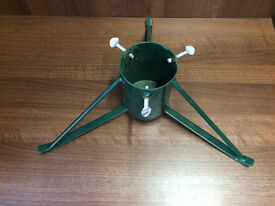 USED - MASSIVE CAST IRON GREEN CHRISTMAS TREE STAND
