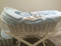 Lovely blue and white Moses basket
