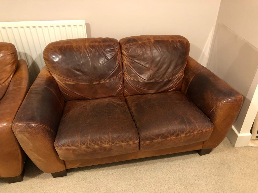 Brown Leather Sofas Used Free To A Good Home