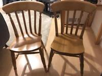 Pair of Lovely Solid Wood Kitchen / Dining Chairs - Very good condition
