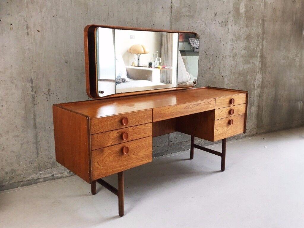 Midcentury vanity table with mirror by Meredrew