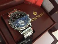 New Swiss Patek Philippe Tourbillon Stainless Steel Automatic Watch, See Through back
