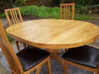 NEW Solid oak table & real leather chairs
