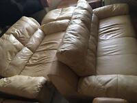 3 and 2 seater cream leather sofa