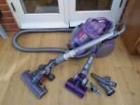 DYSON DC08 PURPLE TELESCOPE WRAP WITH 2X TURBINE HEADS AND 3 TOOLS ANDTOOL HOLDER EXCELLENTCONDITION