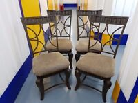Metal and fabric dining chairs
