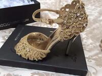 Gold diamanté Ladies Evening Shoe UK Size 4