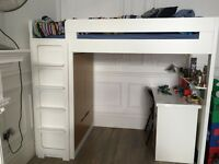 Must sell! Aspace Farringdon high sleeper/cabin bed plus desk and mattress