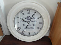 LARGE REPRODUCTION SHABBY CHIC ANTIQUED WHITE WOOD FRENCH STYLE WALL CLOCK BATTERY OPERATED