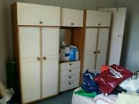 Triple wardrobe/cupboard with built in dresser