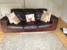 Brown Leather Sofa 3 & 2 Seater and Stool Collect Only