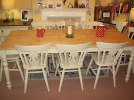 LARGE SOLID PINE FARMHOUSE TABLE & EIGHT FIDDLE BACK CHAIRS 7ft x 3ft
